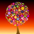 Colorful tree with flowers — Stock Photo