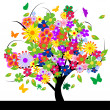 Abstract tree with flowers — Stock Photo #7995904