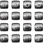 Vector illustration of glossy multimedia icon set — Stock Photo
