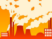 Vector illustration of a factory belching out pollution — Stock Photo