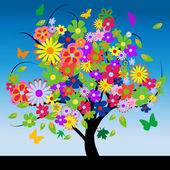 Abstract tree with flowers — Stock Photo