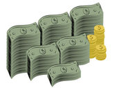 Illustration of dollar bills and coins — Stock Photo
