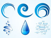 Logo elements, water drops, bubbles and waves — Stock Photo