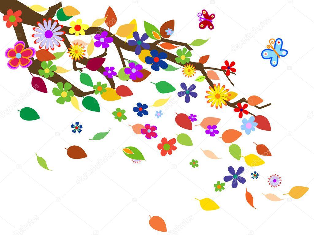春天的花背景矢量图