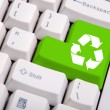 Recycle symbol on the computer keyboard — Stock Photo