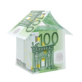 A house made from euro bills — Stock Photo