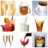 Collage of drink related pictures — Stock Photo
