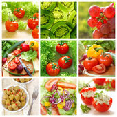 Healthy vegetables and food collage — Stock Photo