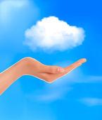 云计算概念手与蓝色的天空和白色云矢量 — 图库矢量图片