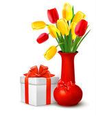 Blumen in der vase und geschenk-box mit bändern urlaub hintergrund vektor — Stockvektor