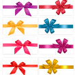 Big collection of color gift bows with ribbons — Imagen vectorial