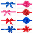 Big collection of color gift bows with ribbons Vector — Stockvektor