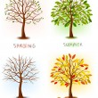 Four seasons - spring, summer, autumn, winter. Art tree beautiful for your design. Vector illustration. — Vettoriali Stock