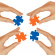 Hands and puzzle. Business concept. Vector illustration. — Stock Vector #10042317