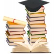 Stack of colorful books and graduation cap . Vector illustration. — Stock Vector