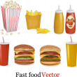 Big set of fast food products. — 图库矢量图片