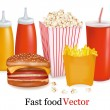 Big set of fast food products. — Stock Vector