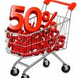 Stock Vector: Concept of discount. Shopping cart with sale.