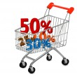 Concept of discount. Shopping cart with sale. — Stock Vector