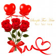 Valentine`s day card. Red roses and gift red bow. Vector. — Stock Vector