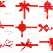 Big collection of color gift bows with ribbons  Vector — 图库矢量图片