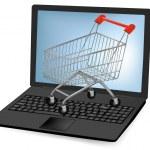 Vector illustration of a shopping art over a laptop. — Stock Vector #10042877