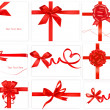 Big collection of color gift bows with ribbons  Vector — Stock vektor