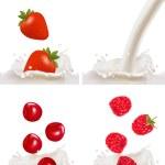 Set of berries falling into the milk splash. Vector — Stock Vector