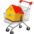 House in shopping cart — Stock Vector