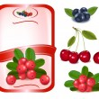Red label with berries. — Stock Vector #10042970