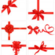 Big collection of color gift bows with ribbons Vector — Vector de stock