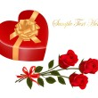 Stock Vector: Valentine`s day card. Beauty red rose and gift box with bow.