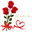 Valentine background. Two red roses and hearts. — Imagen vectorial