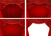 Four backgrounds with red velvet curtains. Vector illustration. — Stock Vector