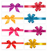 Big collection of color gift bows with ribbons — Stock Vector