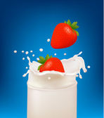 Red strawberry fruits falling into the milky splash in a glass. Vector illustration — Stock Vector