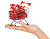 Concept of discount. Hard with shopping cart with sale. Vector illustration — Stockvector