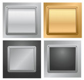 Four glossy metallic plates on a textured backgrounds. Vector illustration — Stock Vector