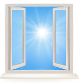 Open window against a white wall and the cloudy sky and sun. Conceptual shot of freedom and dreaming in real estate business. Vector — Stock Vector