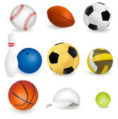 Big set of sport balls and tennis cap. — Stock Vector