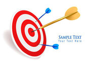 Gold dart hitting a target. Success concept. Vector illustration — Stock Vector