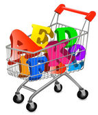 Shopping cart with color alphabet. Vector illustration. — Stock Vector