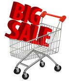 Big save in a shopping cart . Concept of discount. Vector illustration. — Stok Vektör
