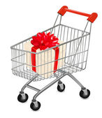Shopping cart with presents. Vector illustration. — Stok Vektör