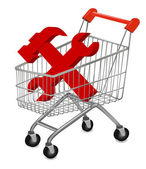 Vector illustration of a shopping cart on the white — Stok Vektör