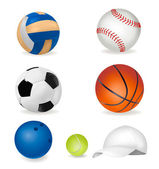 Set of sport balls and tennis cap. — Stock Vector