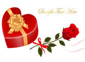 Valentine`s day card. Three Beautiful red roses and gift box with gold bow. — Stock Vector