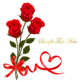 Valentine background. Two red roses and hearts. — Vettoriale Stock