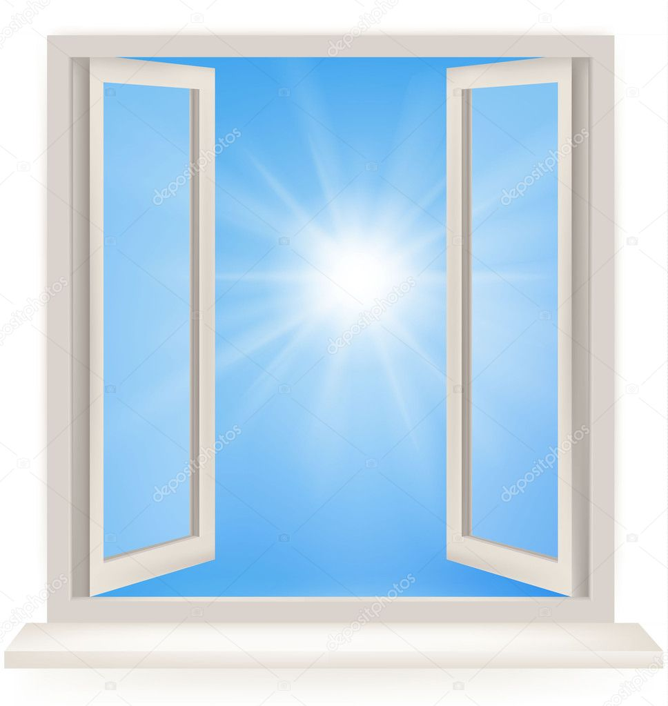Aprire la finestra contro un muro bianco e il cielo nuvoloso e il sole colpo concettuale della - La finestra biz ...
