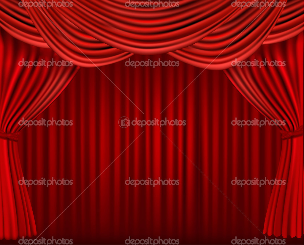 Background with red velvet curtain. Vector illustration. — Stock Vector #10042217